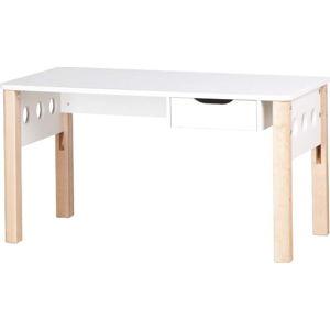 Hnědo-bílý psací stůl z březového dřeva s nastavitelnou výškou Flexa