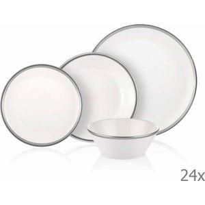 24dílný set porcelánového nádobí Mia Halos Silver