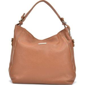 Hnědá kožená kabelka Mangotti Bags Bea