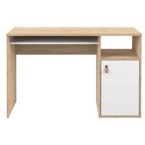 Pracovní stůl v dekoru dubového dřeva s bílými detaily TemaHome Oxford