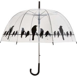 Transparentní větruodolný holový deštník Ambiance Birds, ⌀83cm