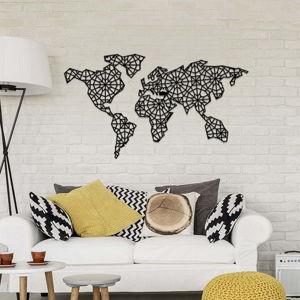 Černá kovová nástěnná dekorace The World Is Mine, 120 x 64 cm