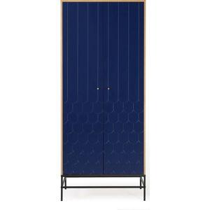 Tmavě modrá šatní skříň Woodman Lia