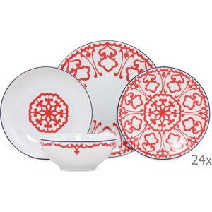 24dílný set bílého porcelánového nádobí s červeným vzorem Kütahya Porselen Desen