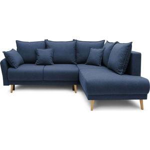 Tmavě modrá rozkládací rohová pohovka Bobochic Paris Mia L, pravý roh
