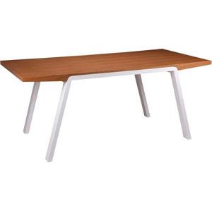 Jídelní stůl v dekoru dubového dřeva s bílými nohami sømcasa Stela, 180x90cm