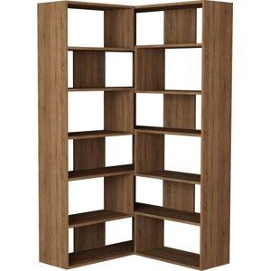 Rohová knihovna v dekoru dubového dřeva Molly N 4