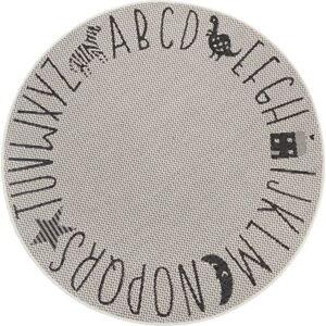 Černo-šedý dětský koberec Ragami Letters, ø 160 cm