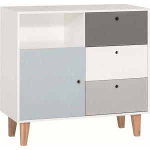 Bílo-šedá komoda s modrým detailem Vox Concept