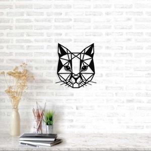 Černá kovová nástěnná dekorace Cat, 45 x 49 cm