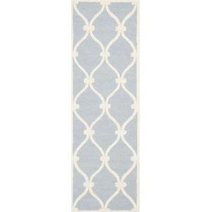 Modrošedý vlněný koberec Safavieh Hugo, 76x243cm