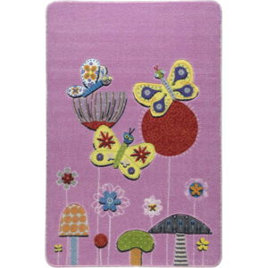 Dětský růžový koberec Confetti Butterfly Efect, 133x190cm