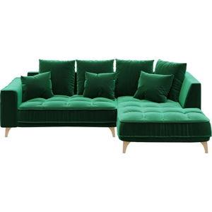 Tmavě zelená třímístná pohovka devichy Chloe, pravý roh