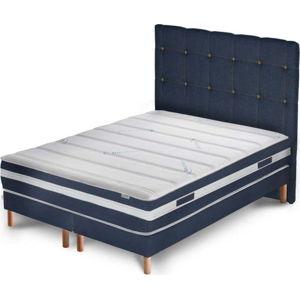 Tmavě modrá postel s matrací a dvojitým boxspringem Stella Cadente Maison Venus Cadente, 180x200 cm