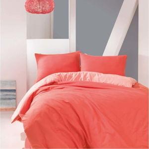 Korálově červené bavlněné povlečení s prostěradlem Marie Claire Suzy, 200x220cm