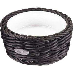 Porcelánová servírovací miska v černém košíku Saleen, ⌀ 10,5 cm