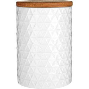 Bílá dóza s bambusovým víkem Premier Housewares White Tri Canister, ⌀ 10 cm