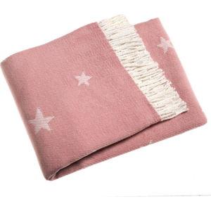 Růžový pléd s podílem bavlny Euromant Stars, 140x180cm