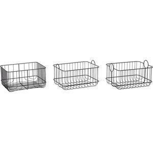 Sada 3 černých úložných košíků Hübsch Wire Garro
