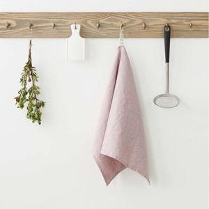Světle růžová lněná utěrka Linen Tales, 65x45cm