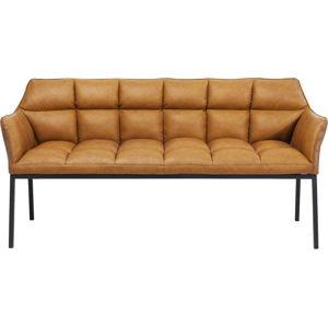 Karamelově hnědá lavice z imitace kůže Kare Design Thinktank