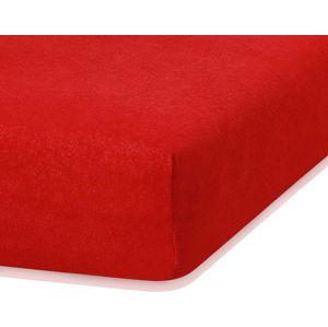 Červené elastické prostěradlo s vysokým podílem bavlny AmeliaHome Ruby, 200 x 80-90 cm