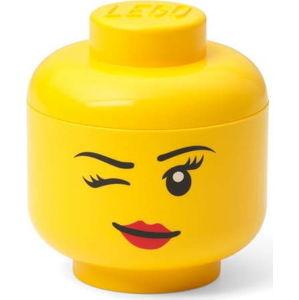 Žlutá úložná krabice ve tvaru hlavy LEGO® whinky, 10,5x10,6x12 cm