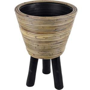Ratanový květináč na dřevěných nohách Ego Dekor, ø32 cm