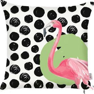Černobílý povlak na polštář Apolena Dots Flamingo, 43x43cm