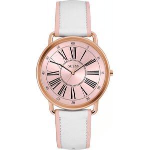 Dámské hodinky s bílým páskem z pravé kůže Guess W0032L8