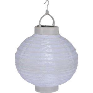 Bílý venkovní solární LED lampion BestSeason Summer, ø30cm