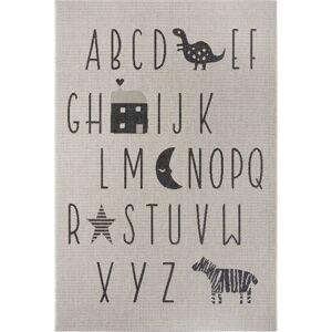 Černo-šedý dětský koberec Ragami Letters, 80 x 150 cm