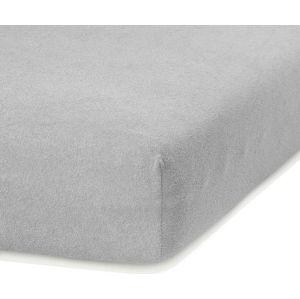 Světle šedé elastické prostěradlo s vysokým podílem bavlny AmeliaHome Ruby, 200 x 120-140 cm