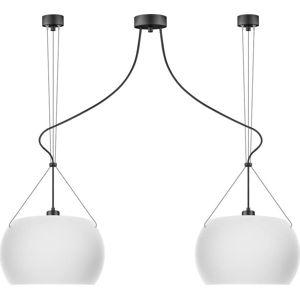Bílé matné závěsné svítidlo se 2 svítidly a černým kabelem Sotto Luce MYOO Elementary