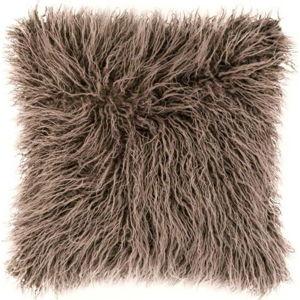 Hnědý chlupatý polštář Tiseco Home Studio Mohair, 45x45cm