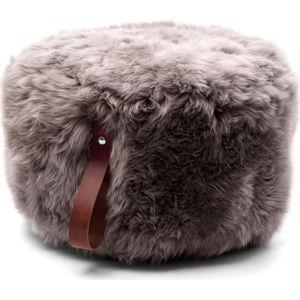Hnědý puf z ovčí kožešiny s hnědým detailem Royal Dream,Ø60cm