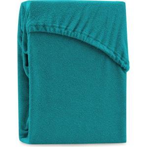 Tyrkysové elastické prostěradlo na dvoulůžko AmeliaHome Ruby Turquoise, 180-200 x 200 cm
