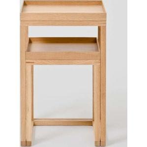 Sada 2 dubových odkládacích stolků Wireworks Oak