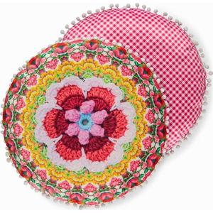 Oboustranný kulatý polštář se sametovým vzhledem HAPPINESS Ziyani, ø 55 cm
