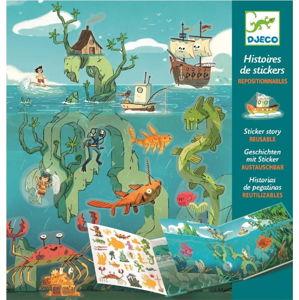 Set knihy s přemístitelnými samolepkami Djeco Sea Sticker Story