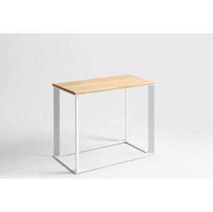 Konzolový stolek s bílým podnožím a dubovou deskou Custom Form Skaden, délka100cm