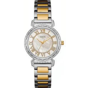 Dámské hodinky ve stříbrno-zlaté barvě s páskem z nerezové oceli Guess W0831L3