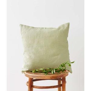 Světle zelený lněný povlak na polštář Linen Tales, 45 x 45 cm