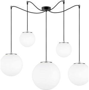 Bílé závěsné svítidlo s 5 stínidly a objímkou ve sřítbrné barvě Sotto Luce TSUKI