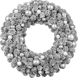 Vánoční věnec se šiškami ve stříbrné barvě Ego Dekor,ø32cm