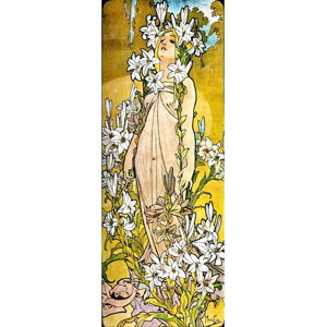 Reprodukce obrazu Alfons Mucha - The Flowers Lily, 30 x 80 cm