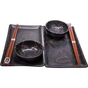Černý servírovací set na sushi pro 2 osoby MIJ Flower
