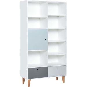 Knihovna s modrými dvířky z dubového dřeva Vox Concept, 105x201,5cm