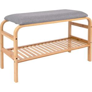 Bambusová lavice s šedým polstrováním Leitmotiv Dure