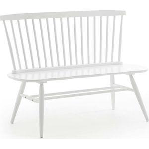 Bílá sedací lavice z kaučukového dřeva La Forma Slover, 120 x 53 cm